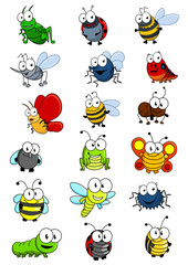Cartooned insects set