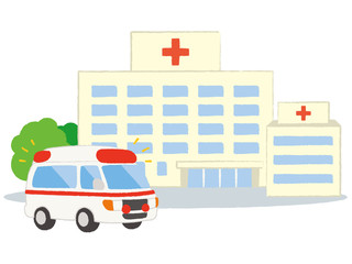 総合病院と救急車