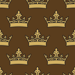 Golden crowns seamless pattern