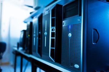Network servers in data room .