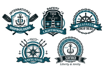 Nautical badges and emblems set in heraldic style