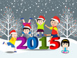 Merry christmas  and Happy new year 2015 with happy kids