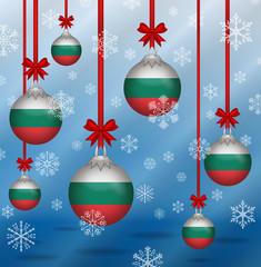 Christmas background flags Bulgaria