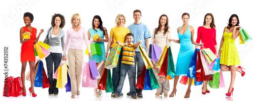 Beautiful women with shopping bags. - 74352512