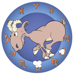 The year of the goat. Chinese horoscope cartoon