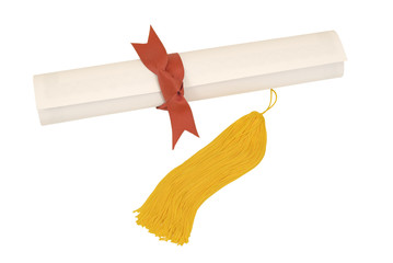 Diploma With Gold Tassel and Red Ribbon
