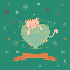 winter holiday greeting card