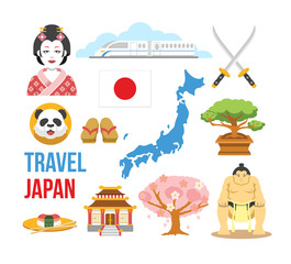 Japan flat icons set