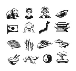 Japan vector outline doodle pictogram black icons set