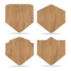 Collection of various shapes wooden sign boards