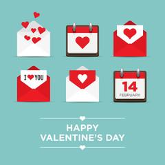 Valentines day set of icons, letter, envelope, calendar, hearts