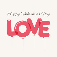 Valentines day card with letters balloons