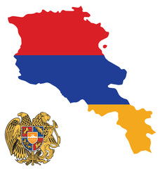 Flag and coat of arms of the Republic of Armenia