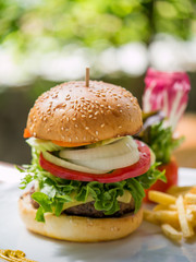 Classic deluxe cheeseburger with lettuce, onions, tomato and pic