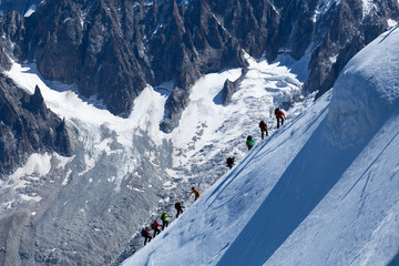 Climber on the way to the top of Mont Blanc
