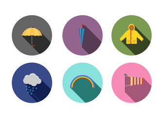 rain icon ,Flat style with long shadows