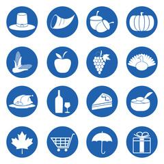 Thanksgiving day symbols icons set
