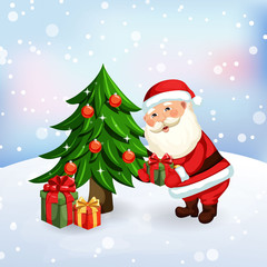 Santa Claus giving a presents