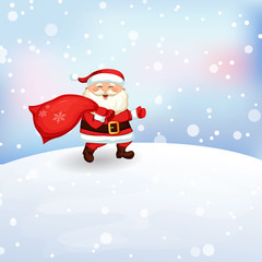 Santa Claus running with a bag of gifts.