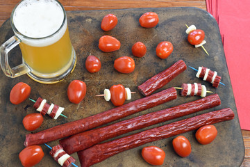 Microbrew And Beef Stick Snack