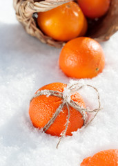 Christmas Oranges with a Bow from Cord at the Snow