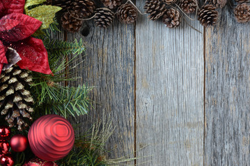 Christmas Decorations with Pine Cones and Rustic Wood Background