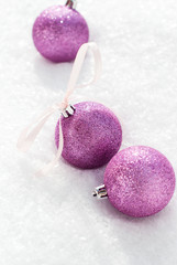 Christmas Violet Balls with a Bow from Ribbon