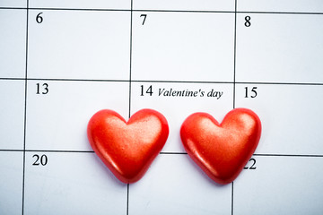 Calendar page with the red hearts on February 14 of Saint Valent