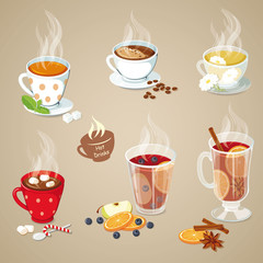 Hot drinks icons set