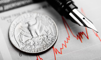 american coin on fluctuating graph. Rate of the dollar