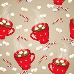 Hot chocolate seamless pattern