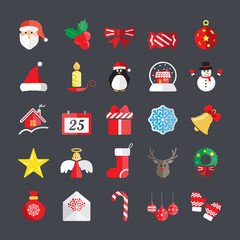 flat christmas icon set, vector eps10