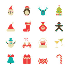 vintage christmas icon set, vector eps10