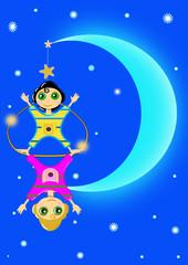Trapecistas en la luna
