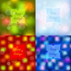 Bokeh lights Christmas backgrounds set