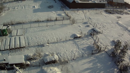 View from above of countryside in winter