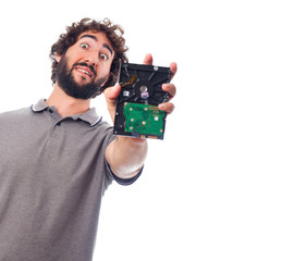 young crazy man with a hard disk