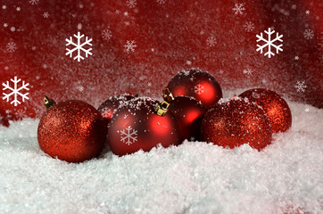 xmas red card balls snow - merry christmas