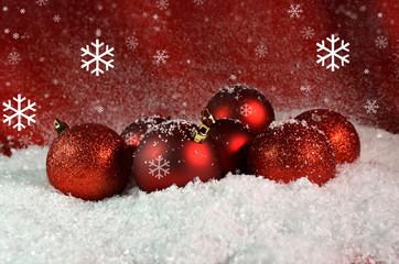 xmas red card balls snow - merry christmas