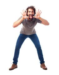 young crazy man shouting