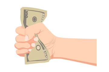 Money dollar in the hand vector (Hand holding Banknotes)