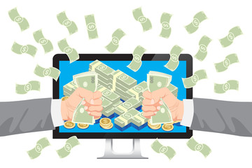 Get money from online business holding dollar with falling money