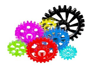 Color gears on white
