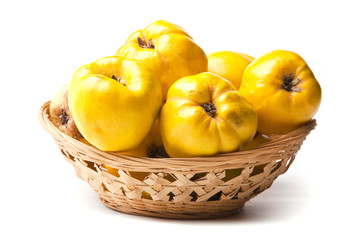 Quinces pear in basket