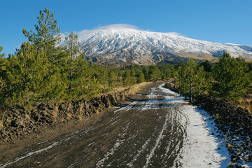 Dirt Trail To The Snowy Volcano Etna, Sicily