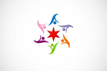 circle people group star logo vector
