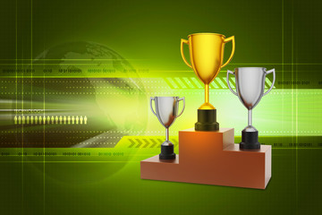 Three trophy isolated in white