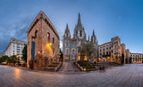 Fototapeta Panorama of Cathedral of the Holy Cross and Saint Eulalia in the