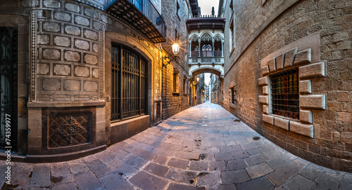 Barri Gothic Quarter and Bridge of Sighs in Barcelona, Catalonia - 74359977