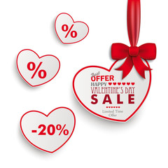 White Sale Hearts Red Ribbon White Background